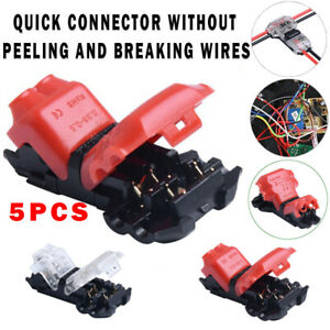 5pcs 2 pin T shaped Quick Connector Cable Clamp Terminal Block For Led Strip Usa