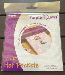 1 Pack Of Purple Cows Hot Laminating Pockets Pouches 3 Mil 6 x6 20 Total