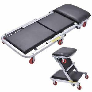 Z 40 2 In 1 Foldable Mechanics Creeper Seat Rolling Chair Garage Work Stool New