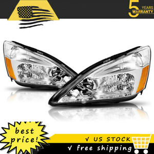For 2003 2007 Honda Accord Headlights Lamps Assembly Chrome Housing Amber Coner Fits 2003 Honda Accord Coupe