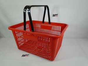 2 Qty New Red Plastic Shopping Basket Market Grocery Retail Store Supplies