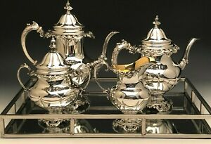 Grande Baroque By Wallace 4 Piece Sterling Silver Coffee Tea Set Gently Used