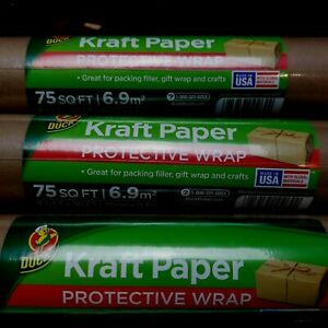 Set Of 3 Duck Brand Kraft Paper Roll 2 5 Ft X 30 Ft Brown 225 Sq Ft Total