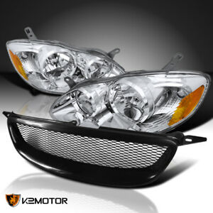 For 2003 2008 Toyota Corolla Headlights Lamps Black Front Mesh Hood Grille