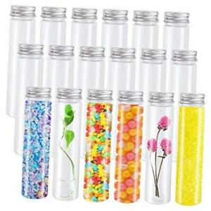 18 Pack 110ml Clear Plastic Test Tubes With Screw Caps flat bottomed Candy