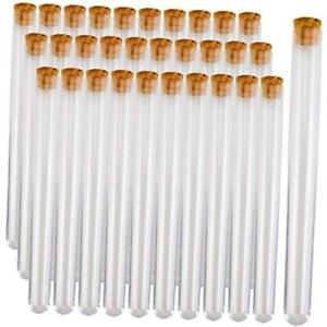 30 Pcs 15mm X 150mm Plastic Test Tubes With Cork Stoppers Long Test Tubes