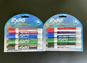 Expo 80174 Whiteboard Markers Low Odor Lot Of 2 Pack Red Blue Green Black