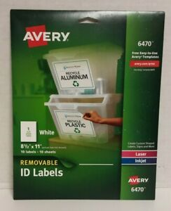 10 pack Avery 6470 Removable Id Labels 8 1 2 x11 Full Sheet Labels Laser Inkjet