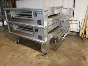 Middleby Marshall Ps570 Dbl stack Nat gas Pizza Conveyor Oven video Demo