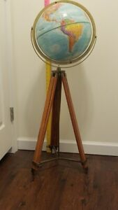 World Globe 12 Inch Replogle World Nation With Floor Tripod Stand Used