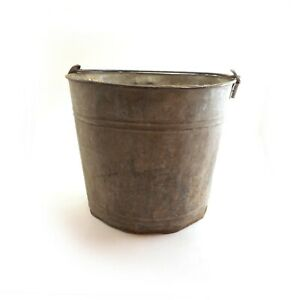 Vtg Old Galvanized Metal Chore Bucket Pail Patina Farm Country Sturdy Handle