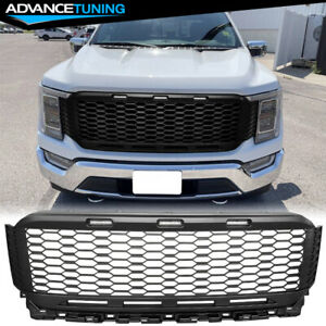 Fits 21 Ford F 150 Front Bumper Hood Grill Grille Raptor Style Abs Matte Black
