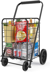 Grocery Cart With Wheels Heavy Duty Foldable Lightweight Shopping Cart 176lb