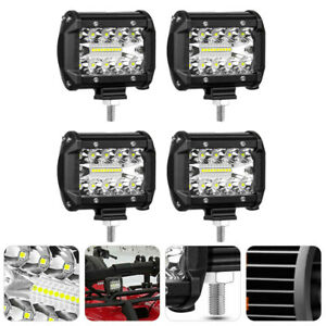 4pcs 4 60w Led Work Light Bar Pods Driving Off Road Flood Beam Suv Tractor