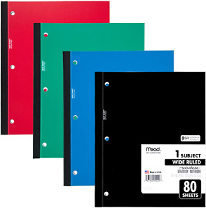 Mead Wireless Neatbook Notebook Wide Rule 10 1 2 X 8 White 80 Sheets 05222 New