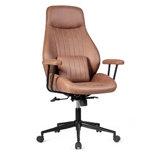 Ergonomic High Back Office Task Chair Adjustable Suede Fabric W Lumbar Support