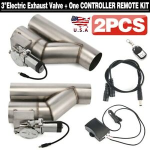 2pcs 3 Electric Exhaust Downpipe E Cut Out Valve One Controller Remote Kit Usa