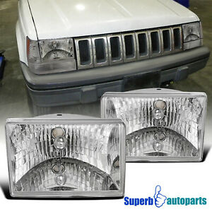 For 1993 1998 Jeep Grand Cherokee Crystal Clear Headlights Head Lamps Pair 93 98