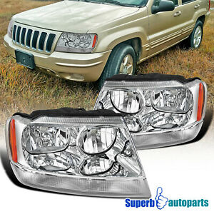 For 1999 2004 Jeep Grand Cherokee Headlights With Corner Signal Lamps 99 04 Pair Fits 2001 Jeep Grand Cherokee