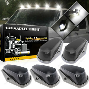 Led Smoke Cab Marker Roof Light Assembly Kit For Ford F150 F250 F350 80 97 White