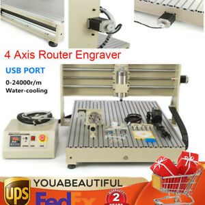6090gz 4 Axis Router Engraving Machine Sculpture Usb Port 1 5kw Spindle Ac110v