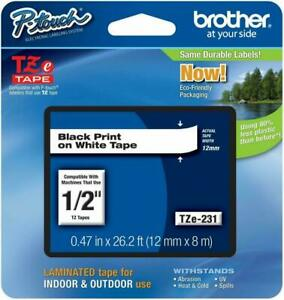 Genuine Brother Tze 231 1 2 Black On White P touch Tz Tape