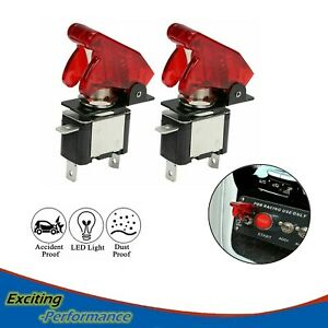 2pcs Racing Spst Red Cover Led Toggle Switch On Off 20a Atv 12v Fit Car Truck