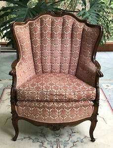 Antique Louis Xv Style Mahogany Cut Velvet Bergere Chair Appraised 1350 In 78
