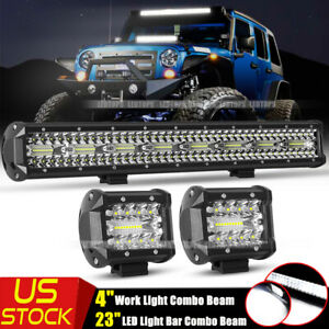 23inch Led Light Bar Flood Combo 2pcs 4 Pods Offroad For Jeep Trucks Suv 22