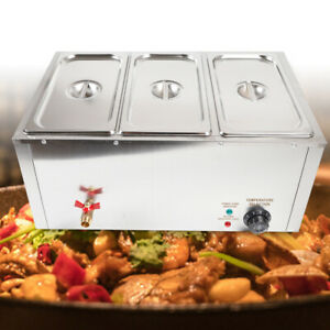 Food Warmer 3 pan Buffet Steam Table Bain Marie Restaurant Commercial Stainless