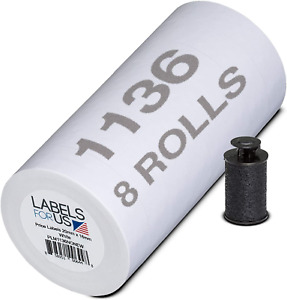 Labels For Monarch 1136 Labeler White 14 000 Labels Pack With 8 Rolls