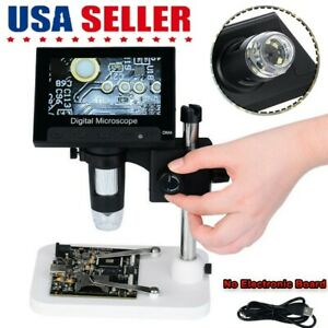 4 3 Electronic Digital Video Microscope 1000x Lcd Monitor With 8 Led Magnifier