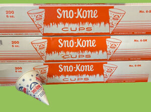 Snow Cone Cups 3 Boxes Of 200 Heavy Duty Sno kone 6oz Cup Gold Medal