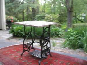 1800s Antique Cast Iron Sewing Machine Table Treadle Base Granite Marble Top