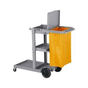 Commercial Janitorial Cart Rolling Janitor Uitility Cart 3 Shelves viny W cover