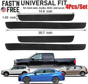 4pcs Rubber Car Door Scuff Sill Cover Panel Step Protector Scratch Pad Universal