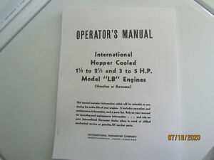 International Lb 1 5 2 5 3 5 Hp Gas Engine Instruction And Parts Manual