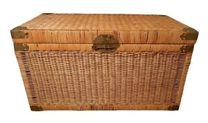 Vintage Wicker Trunk With Brass Chinoiserie Chest Large Coffee Table Size