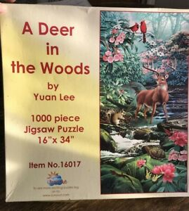 SUNSOUT A Deer In The Woods Jigsaw Puzzle Yuan Lee 1000 Piece 16 X 34 Animals $10.00