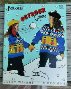 BONANZA SALE RARE KNITTING PATTERN BOOK: OUTDOOR CAPERS BY BOUQUET $1.00