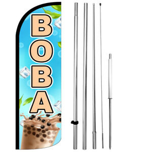 Boba Windless Swooper Feather Flag 15 Tall Large Pole Kit Banner Sign Bq h