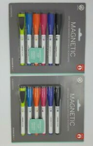 U Brands 6 pack Magnetic Dry Erase Markers With Built in Erasers Lot Of 2 Packs