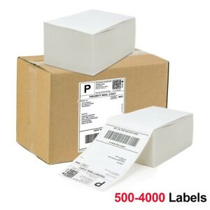 500 4000 4 x6 Fanfold Direct Thermal Shipping Labels For Zebra 2844 Zp450 Rollo