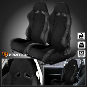 Left Right Side Black Suede Stitch Reclinable Sport Racing Seats W Slider
