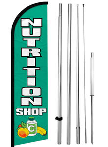 Nutrition Shop Windless Swooper Feather Flag 15 Ft Tall Pole Kit Banner Sign Gfh