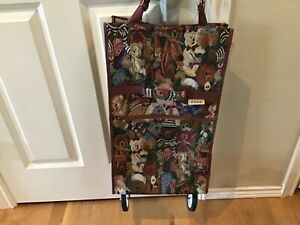 Jade Tapestry Bear Collapsible Foldable Shopping Travel Bag Cart With Wheels
