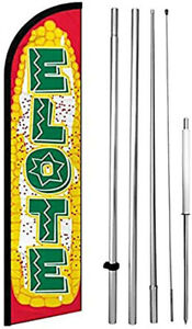 Elote Windless Swooper Feather Flag 15 Tall Large Pole Kit Banner Sign Yf h