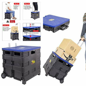 Dbest Products Quik Cart Collapsible Rolling Crate On Wheels For Blue
