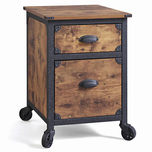 Rustic File Chest Wooden Farmhouse Cabinet 2 Drawer Weathered Office Storage