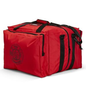 Line2design Deluxe Step in Firefighter Gear Bag With Maltese Cross Logo Red